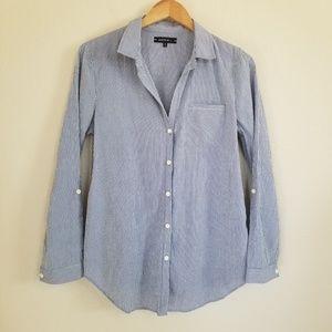 Lafayette 148 Blue Stripe Button Down Shirt M